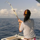 Hold the rod high and keep a good bend in it at all times, especially when fish are near the surface
